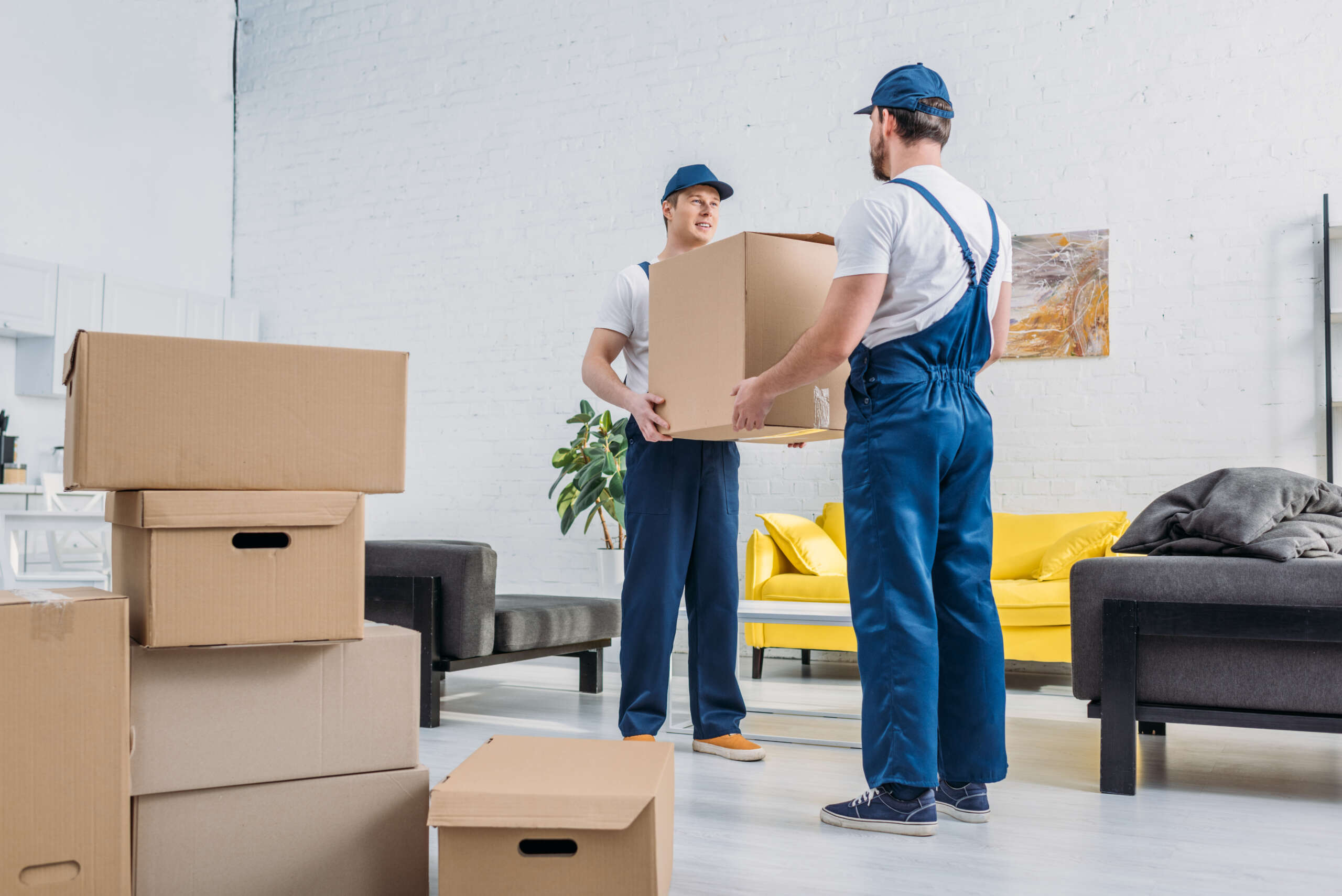 two movers in uniform transporting cardboard box in living room